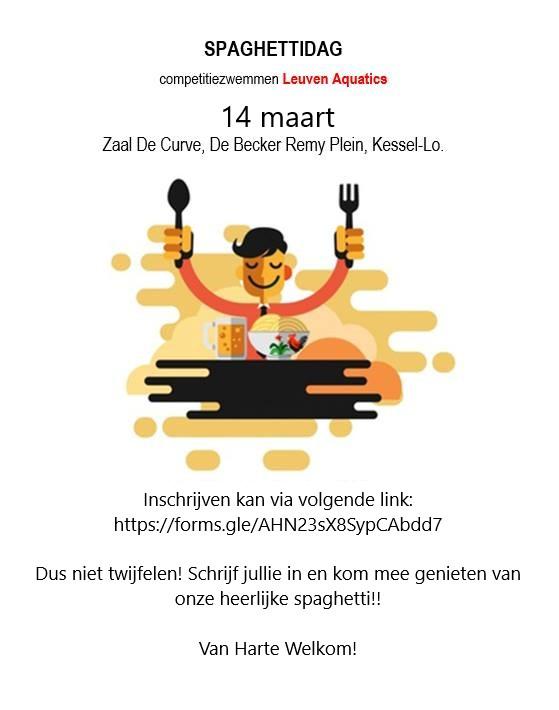 Spaghettidag leuven Aquatics Competitie. Inschrijven kan via volgende link :Inschrijven kan via volgende link: https://forms.gle/kwVqNPzweYP1VRWV8